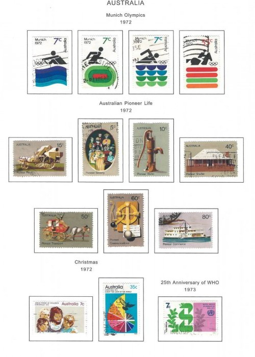 Australian Stamps - 1972 Munich Olympics 1972 - Pioneer Life 1972 - Christmas 1973 - 25th Anniversary of WHO