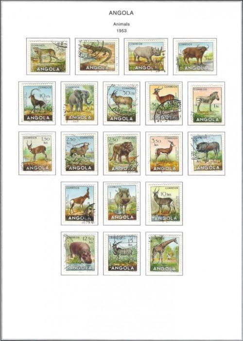 1953 set of Angola Animal Stamps
