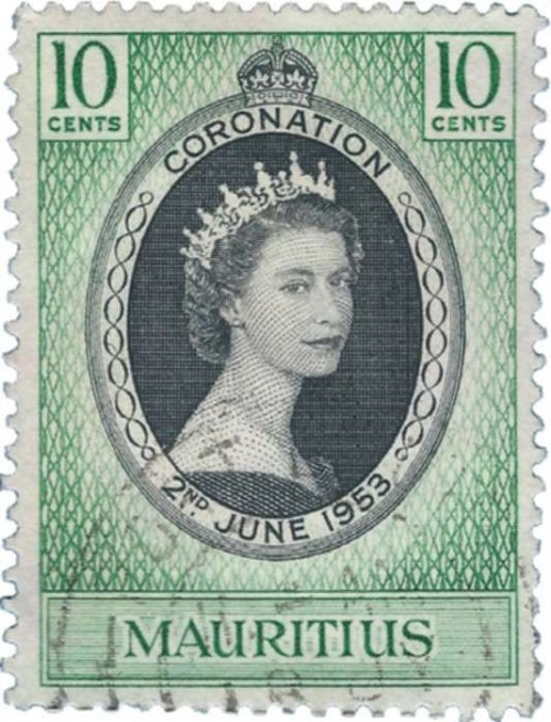 Part of the Coronation Series when Queen Elizabeth II ascended to the throne of England in 1953. This one is from Mauritius.