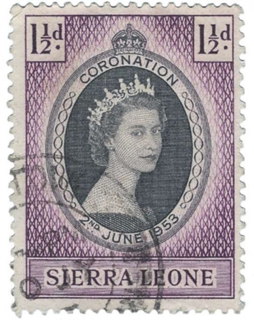 Part of the Coronation Series when Queen Elizabeth II ascended to the throne of England in 1953. This one is from Sierra Leon.