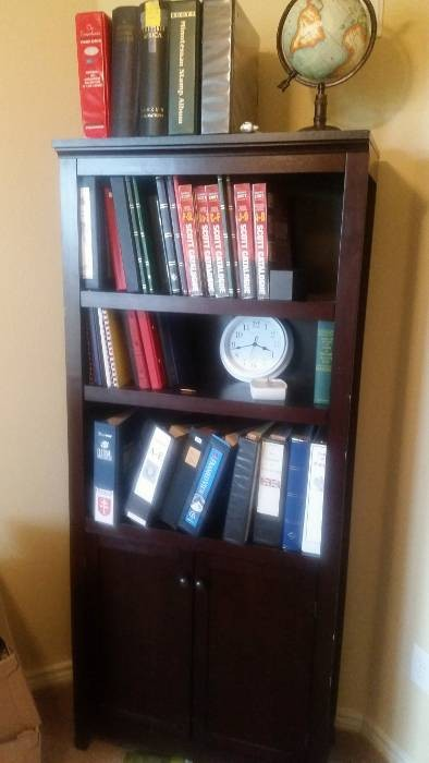The bookcase holding many of my stamp albums and stockbooks.
