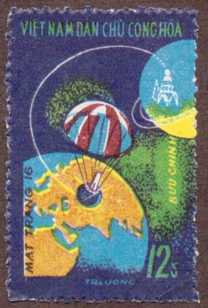 "Stanley Gibbons #: ????? Vietnam #: 719 Description: ""Luna 16"" in flight to moon Series: Moon flight of ""Luna 16"" Face Value: 12 xu's"