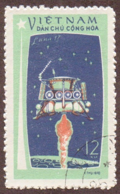 "Stanley Gibbons #: N674 Vietnam #: 722 Description: ""Luna 17"" landing on the moon Series: Moon flight of ""Luna 17"" Face Value: 12 xu's"