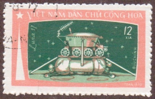 "Stanley Gibbons #: N675 Vietnam #: 723 Description: ""Luna 17"" on the moon Series: Moon flight of ""Luna 17"" Face Value: 12 xu's"