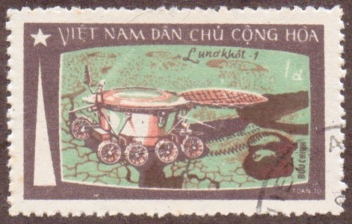 "Stanley Gibbons #: N676 Vietnam #: 724 Description: Moving on the moon Series: Moon flight of ""Luna 17"" Face Value: 1 đồng"