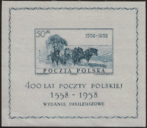 Souvenir Sheet made of silk, commemorating 400 years of Polish postal service.