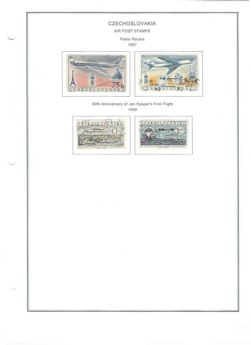 Czechoslovakian Air Mail Stamps from 1957 and 1959.