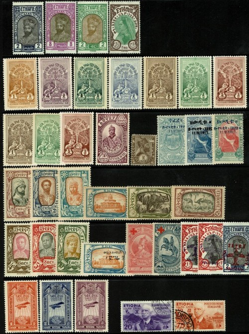 A selection of Ethiopia up to 1930, with the semi-postals and occupation stamps from 1936.