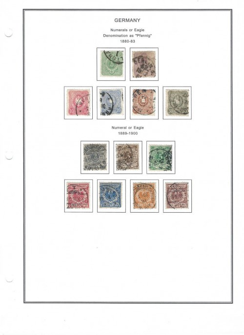 A completed page from Steiner's Stamp Album Pages. This is some Germany from the late 1800s.  1880-1883 Scott #37 – 3pf Yellow Green Scott #38 – 5pf Violet Scott #39 – 10pf Red Scott #40 – 20pf Bright Ultramarine Scott #41 – 25pf Dull Rose Brown Scott #42 50 pf Deep Grayish Olive Green  1889-1900 Scott #45 – 2pf Gray Scott #46 – 3pf Brown Scott #47 – 5pf Blue Green Scott #48 – 10pf Carmine Scott #49 – 20pf Ultramarine Scott #50 – 25pf Orange Scott #51 – 50pf Chocolate