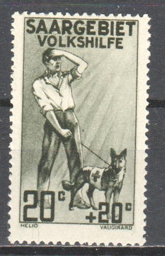 Saar 1926 charity stamp - guide dog leading blind man