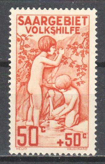 Saar 1926 charity stamp - children getting water at a spring