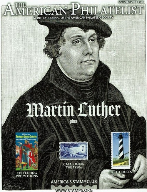 The October 2018 issue of The American Philatelist, depicting Martin Luther showing off his lighthouse stamp.