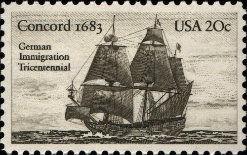 USA, Scott Nr 2040 (1983) Oct 6, 1683: Germantown, Pennsylvania, the first permanent German settlement, is founded.