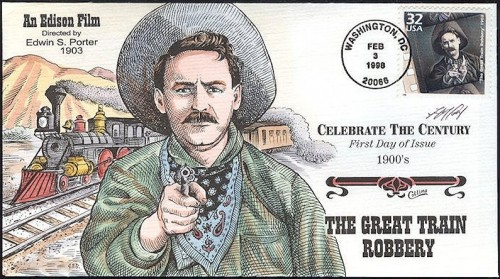 USA, Scott Nr 3182c (1998) Oct 6, 1866: First US train robbery takes place, when the Reno brothers board an eastbound train in Indiana and get away with $13,000.