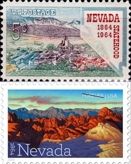 USA, Scott Nr 1248 (1964) and 4907 (2014)
