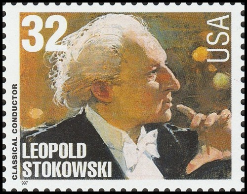 "USA, Scott Nr 3158 (1997) Oct 31, 1955: Leopold Stokowski conducts the Houston Symphony in the first performance of Symphony No. 2, ""Mysterious Mountain,"" by Armenian-American composer Alan Hovhaness."