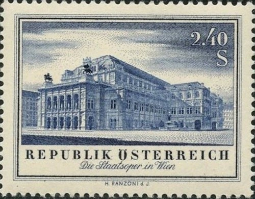 Austria, Scott Nr 606 (1955) Nov 8, 1955 After being destroyed in WWII, the rebuilt Vienna State Opera reopens with Ludwig van Beethoven's Fidelio.