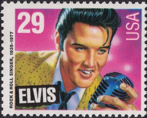 "USA, Scott Nr 2721 (1993) Nov 8, 1971: At the end of an Elvis Presley concert in Minnesota, in an effort to quiet the fans who continued to call for an encore, announcer Al Dvorin utters what would become the most famous catchphrase associated with the singer: ""Elvis has left the building."""