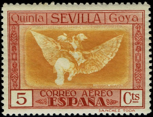 From a long set of 32 stamps issued in 1930 commemorating the death of Francisco de Goya.