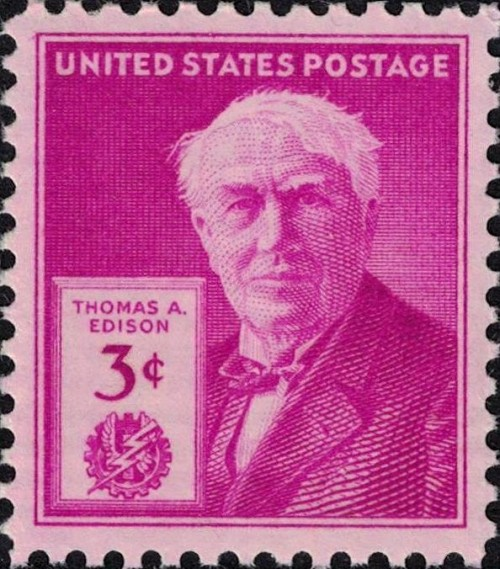 "USA, Scott Nr 945 (1947) Dec 6, 1877: Thomas A. Edison makes the first sound recording when he recites ""Mary had a Little Lamb"" into his phonograph machine."