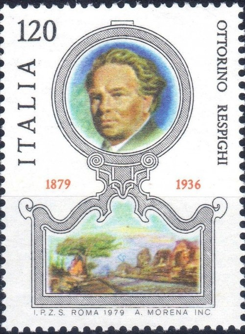 Italy, Scott Nr 1376 (1979) Dec 31, 1925 Composer Ottorino Respighi makes his American concert debut with the NY Philharmonic, playing piano in his Concerto in Mixolydian Mode.