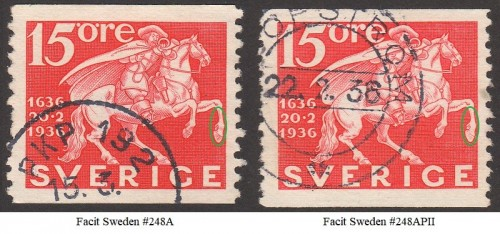 Sweden Facit 248A & 248APII 50p marked