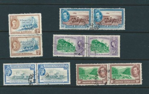 A set of British Honduras stamps from 1938 to 1953 with King George VI and Queen Elizabeth on them.