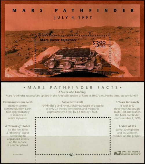 A 1997 souvenir sheet commemorating the Mars Pathfinder mission.