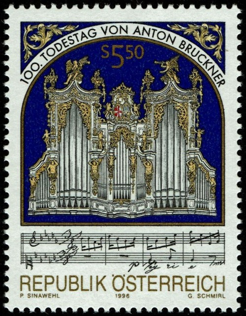 Engraved by Gerhard Schmirl (b. 1942) Noting the 100th anniversary of the death of composer Anton Bruckner