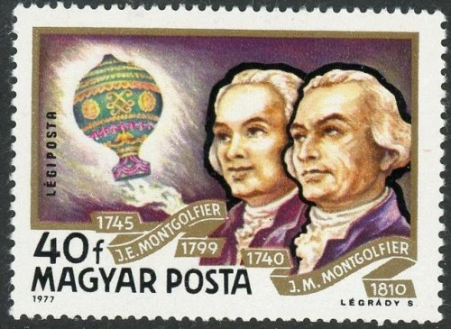Hungary, Scott C385 (1977) The French brothers Joseph-Michel and Jacques-Étienne Montgolfier developed a hot air balloon in Annonay, Ardeche, France, and demonstrated it publicly on September 19, 1783, making an unmanned flight lasting 10 minutes.