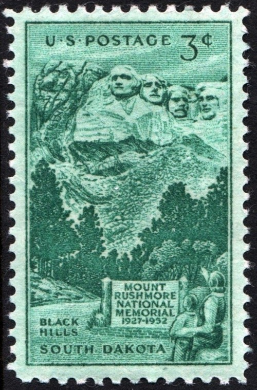 USA, Scott Nr 1011 (1952) Oct 31, 1941: Mount Rushmore is completed. It is later noted that the sculptor mistakenly depicts Theodore Roosevelt left-handed. The mistake goes uncorrected, to this day.