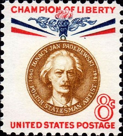 USA, Scott Nr 1160 (1960) Nov 17, 1891: Paderewski makes his USA debut at Carnegie Hall, playing Saint-Saens' 4th Piano Concerto with the NY Symphony Society Orchestra, which would, 1 year later, take the name New York Philharmonic.