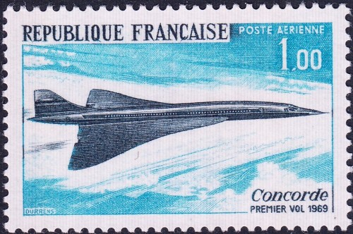 France, Scott Nr C42 (1969) Dec 11, 1967: The Concorde, a joint British-French venture and the world's first supersonic airliner, is unveiled in Toulouse, France.