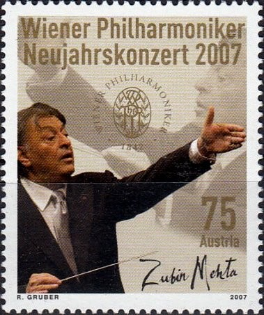 "Austria, Scott Nr 2085 (2007) Dec 29, 1965: Conductor Zubin Mehta makes his debut at the NY Metropolitan Opera @MetOpera production of Verdi's ""Aida."""