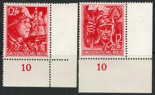 The last stamps issued before the fall of the third reich.