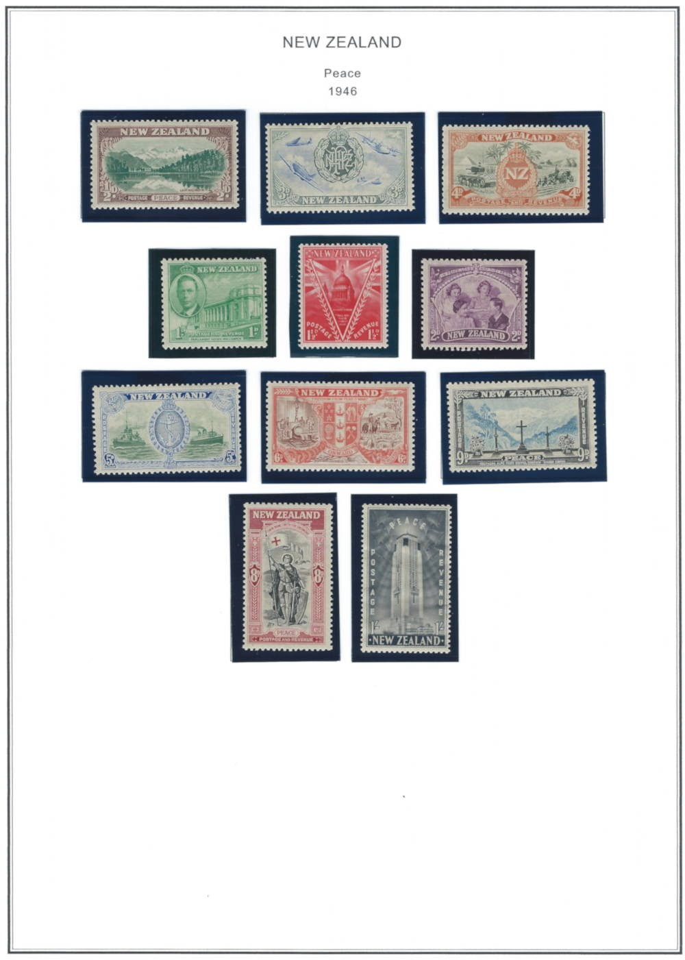 The 1946 New Zealand Peace Issue Stamp Series issued at the end of WWII