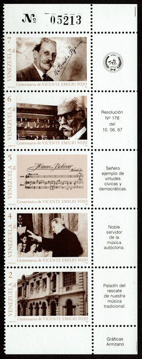Issued for the birth centenary of composer Vicente Emilio Sojo.