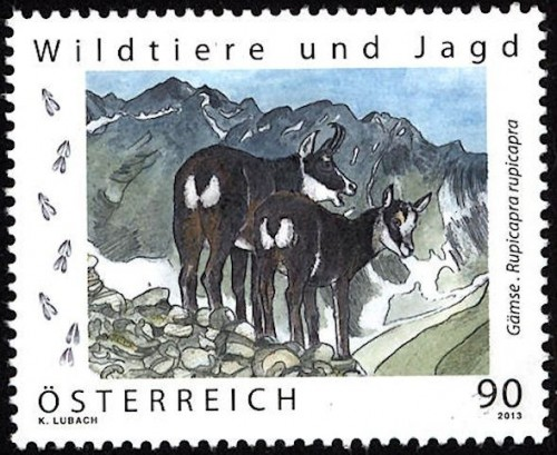 Stamp printed in combination offset lithography and Etch-Art (black outline of chamois).