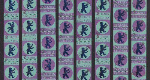 E.I.C. 'Acheron' revenue stamps for use on Hellish Visas: 'Ghost' overprints at left, regular overprints at right.