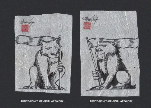 Artist-signed pre-production artwork for the Guardians of Coldland stamps 1