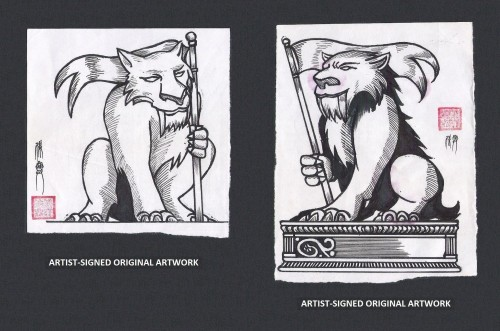 Artist-signed pre-production artwork for the Guardians of Coldland stamps 2