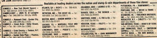 """There is no dealer name given in the ad, only a list of the """"fine"""" stores where you can find a stamp collecting dept selling the stamps."""