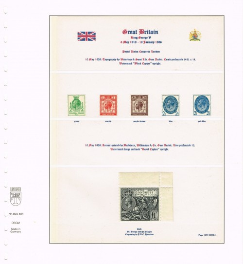 1929, Great Britain, Postal Union Congress London, SG 434-438 (upright watermark). Specialised NCom5 – Ncom9 (upright watermark), including both shades of 2½d blue (SG 437, NCom8)