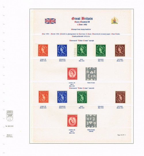 1952 - 1954, Elizabeth II, Wildings, Tudor Crown watermark upright and inverted (ex booklets), SG 515-519b var, 515wi-519bwi. Specialised S1/a, S13/a, S25/c(1) & (2), S36/a, S51/a