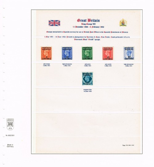 """1951-1952, George VI, British stamps overprinted """"MORROCO AGENCIES"""" for use at the British Post Offices in the Spanish Protectorate of Morocco, Spanish Currency, SG 171, 182-186"""