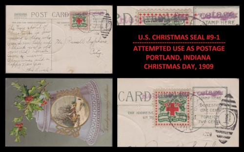 USA Christmas Seal CSS#9-1 Used/Refused for Postage 12/25/1909