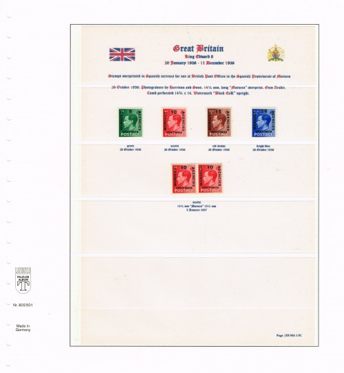 """1936, Edward VIII, British stamps overprinted """"MORROCO AGENCIES"""" for use at the British Post Offices in the Spanish Protectorate of Morocco, Spanish Currency, SG 160-163 and se-tenant pair of 1937 reprint with composite setting of overprint: 14¼ mm and 15¼mm """"MOROCCO,"""" SG 161/a"""