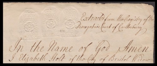 Triple Kiss of the 6-pence embossed revenue device Frank #3618, paying an 18d copying fee. The Frank catalogue says this device was in service from 1749-1764.