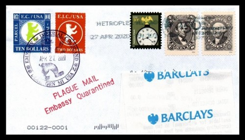 Plague Mail from the Embassy of Imperial Coldland: 10x-Rate to UK 2020-0427