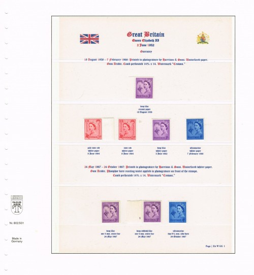 1958 – 1967, Great Britain, Guernsey regional issues, SG XG1-XG6